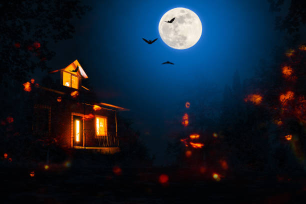 haunted house in the halloween night - horror stock pictures, royalty-free photos & images
