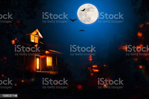 Photo of haunted house in the halloween night