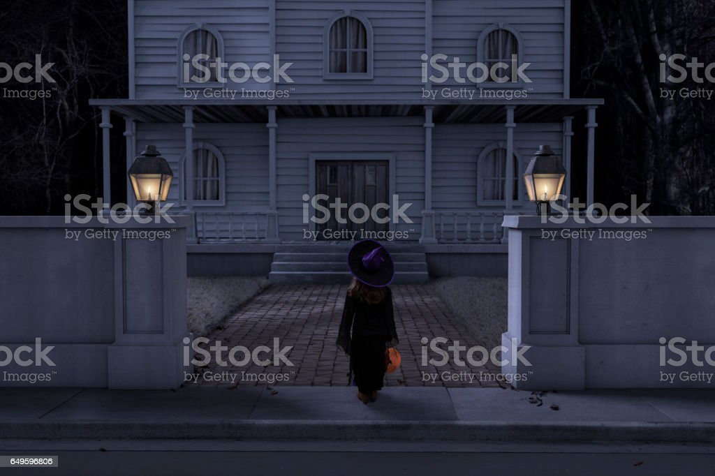 Haunted House Mansion Trick or Treater Halloween Night stock photo