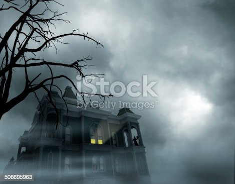 An eery light emanating from a haunted house in front of a full moon. Witch standing watch.