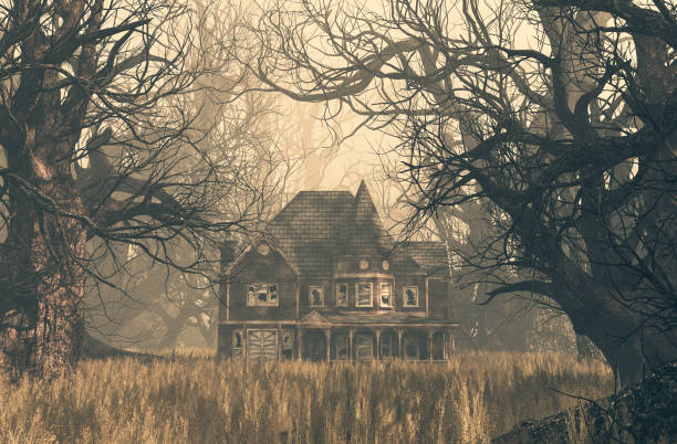 haunted house scene - horror stock pictures, royalty-free photos & images