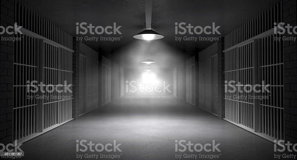 Haunted Jail Corridor And Cells royalty-free stock photo