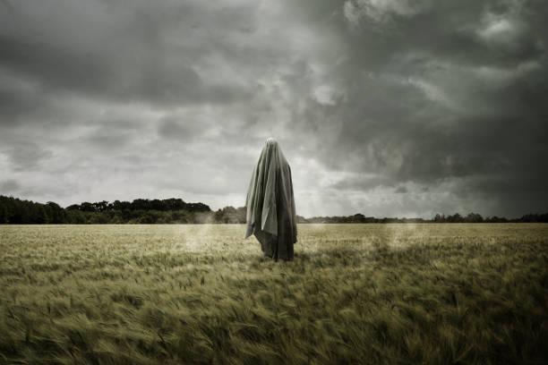 Haunted Spirit Ghost Floating Through a Bleak Landscape stock photo