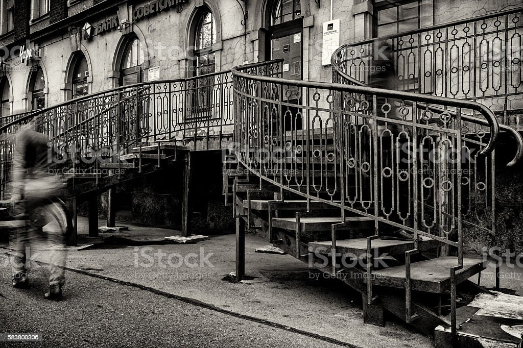 Haunted stairway stock photo
