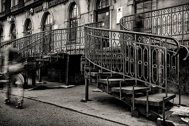 Haunted stairway stock photo