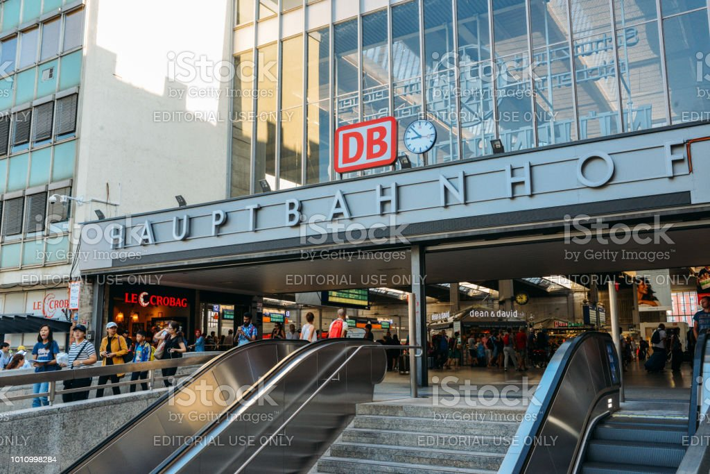 Hauptbahnhof is the main railway station in the city of Munich, Germany stock photo