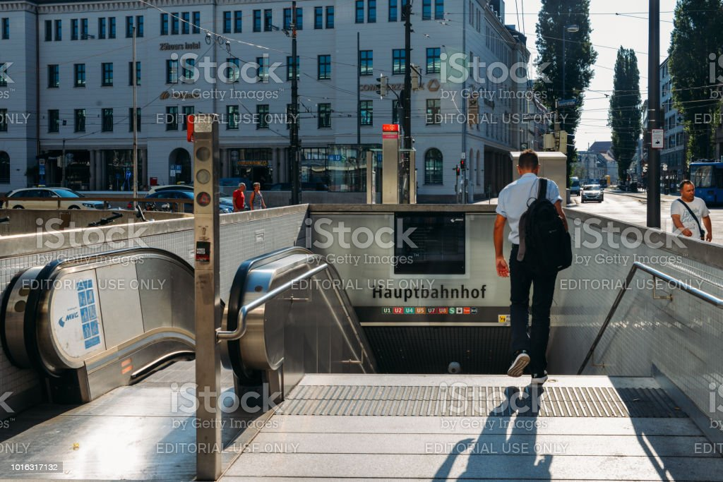 Hauptbahnhof is the main railway station in the city of Munich, Germany. The station sees about 450,000 passengers a day stock photo
