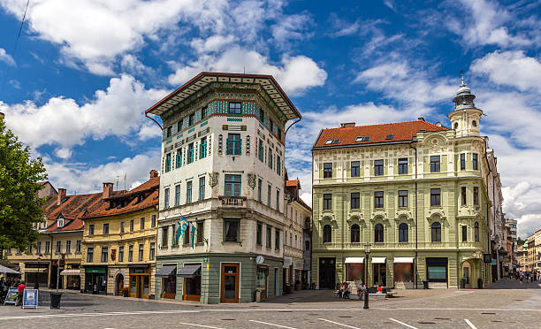 Hauptmann's House on Preseren Square in Ljubljana, Slovenia Hauptmann's House on Preseren Square in Ljubljana, Slovenia ljubljanica river stock pictures, royalty-free photos & images