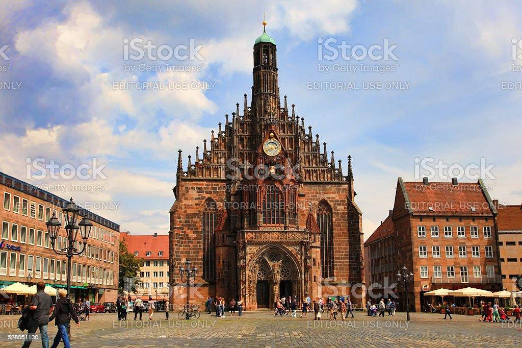 NURNBERG, GERMANY - Hauptmarkt, the central square of Nuremberg, stock photo