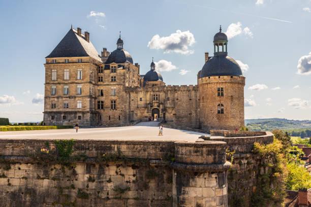 Hautefort Castle, Chateau de Hautfort, we have a sunny day. stock photo