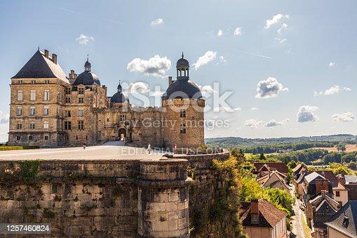 istock Hautefort Castle, Chateau de Hautfort, we have a sunny day. 1257460824