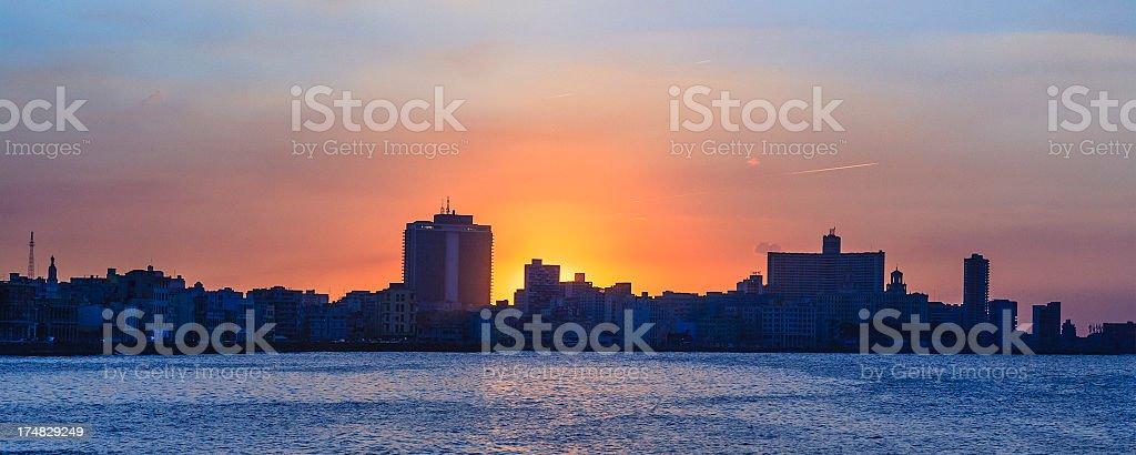 Havana at sunset, Cuba royalty-free stock photo