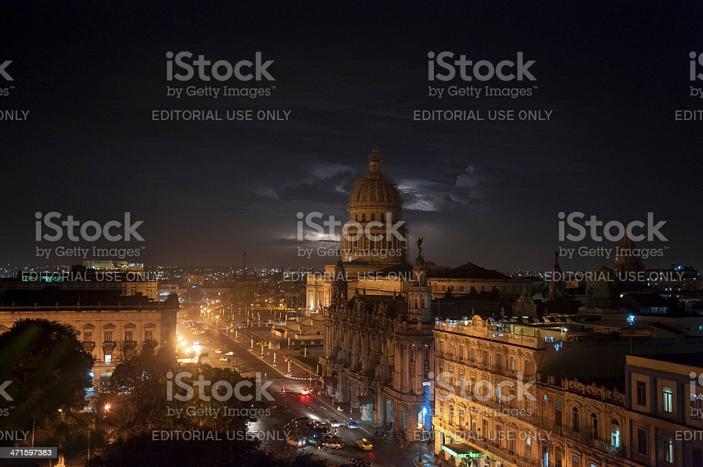 havana by night with lightning and thunderstorm royalty-free stock photo