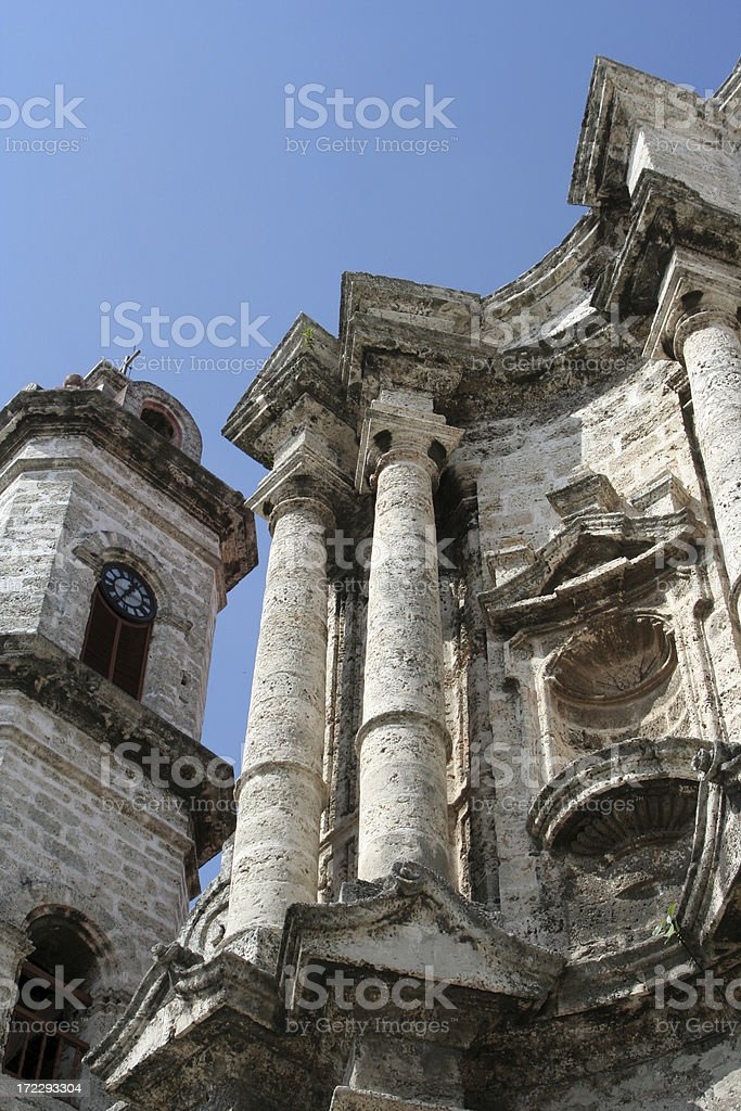 Havana Cathedral (detail) stock photo