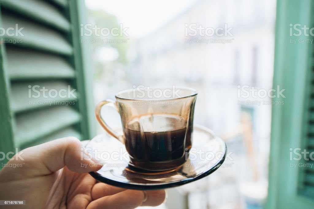 Havana Cuba Tourist Holds Cup of Cuban Coffee stock photo