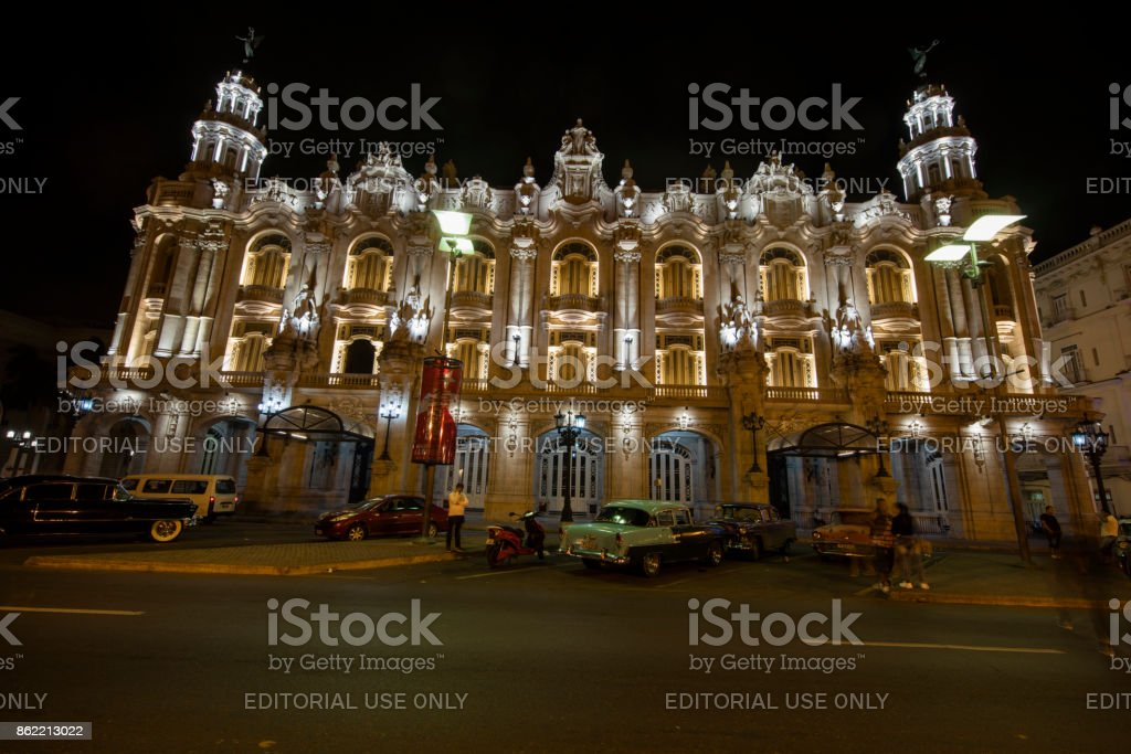 Havana, National Theater at night, Cuba stock photo