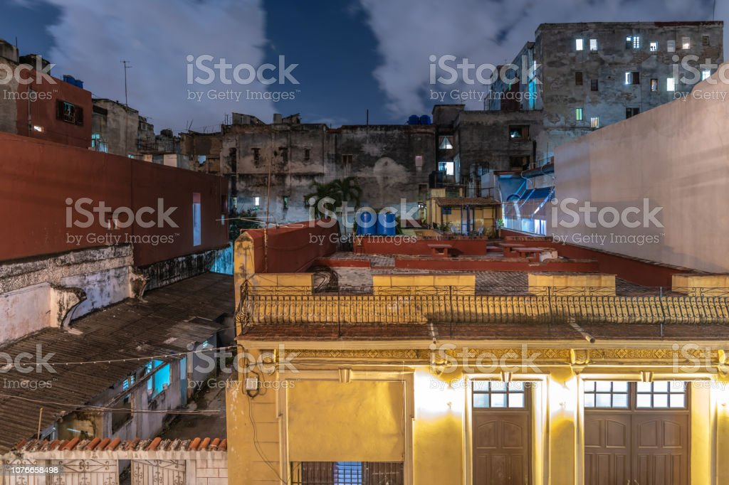 Havana old town rooftops at Night stock photo