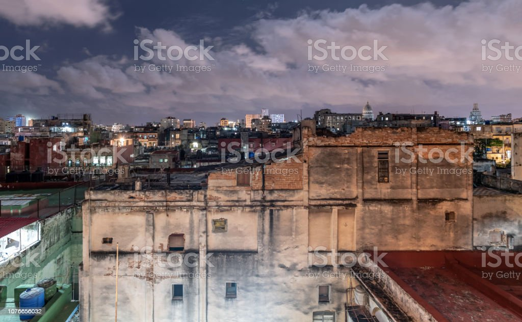 Havana old town skyline and rooftops at Night stock photo