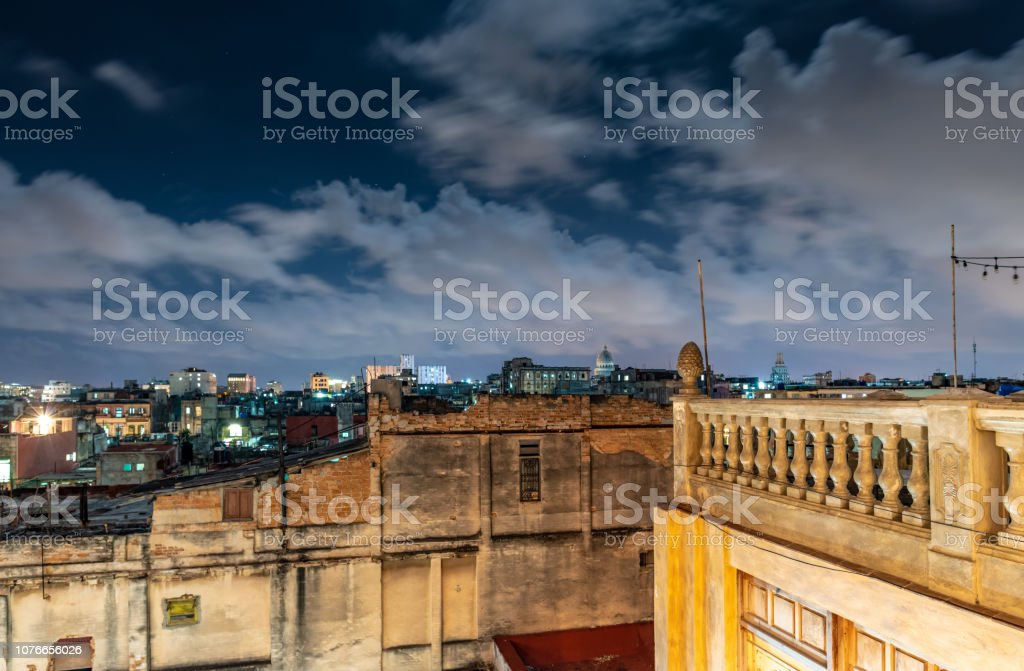 Havana skyline and rooftops at Night stock photo