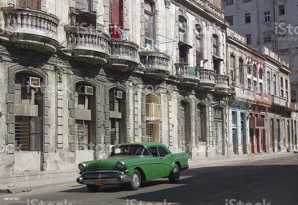 Havana Street with Old car royalty-free stock photo
