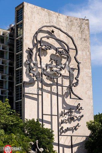 Havana, Cuba - Buildings in Havana`s Plaza de la Revolucion with portraits of Che Guevara. Photo taken on 30th October 2018
