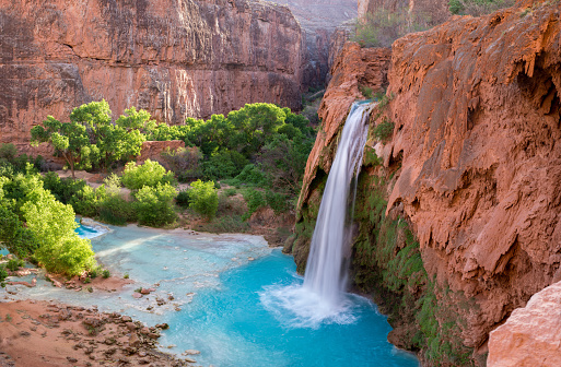 The amazing view of Havasu Falls from above the falls after a hot, long, hike through the desert.