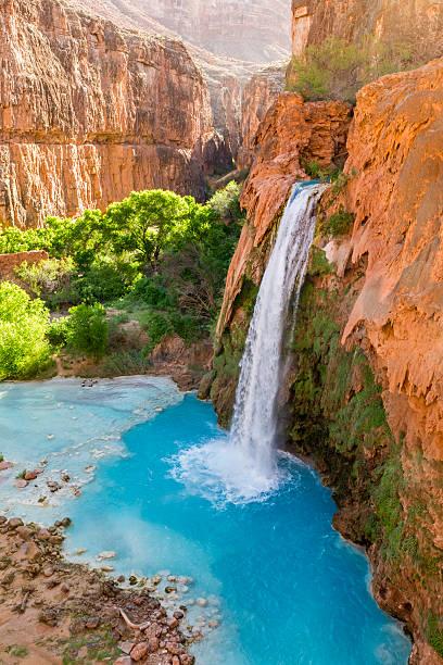 Havasu Falls Plunges into Turquoise Pool stock photo