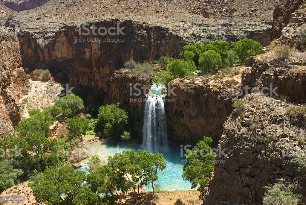 Havasu Falls Waterfall From Above Showing Desert Landscape stock photo