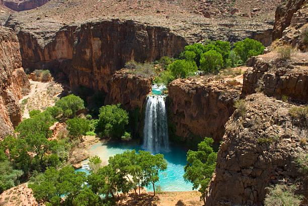 Havasu Falls Waterfall From Above Showing Desert Landscape stock photo