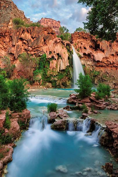 Havasu Falls, waterfalls in the Grand Canyon, Arizona stock photo