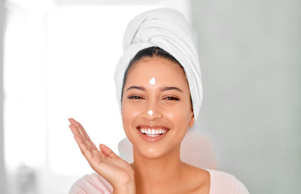 I have a healthy love affair with my skin stock photo