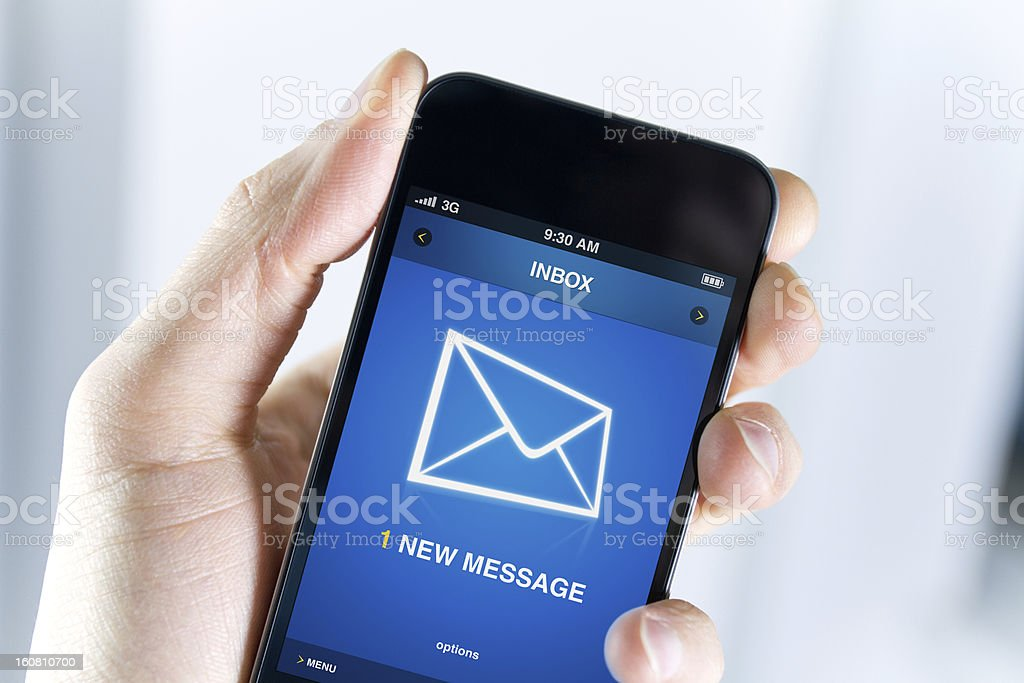 Have a new message on mobile phone stock photo