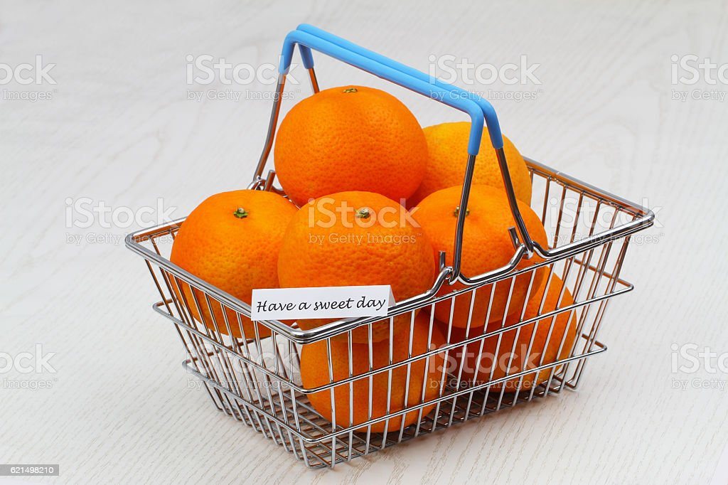 Have a sweet day card with miniature shopping basket mandarines foto stock royalty-free