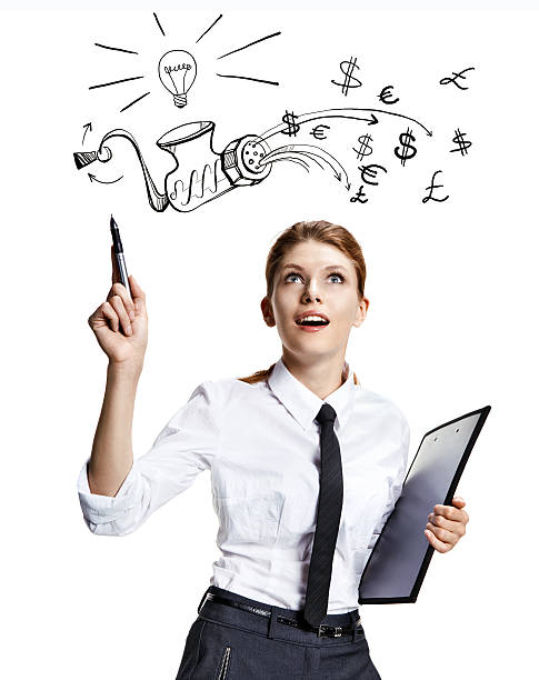 Have an idea attractive woman wearing a white shirt with a tie and a folder in her hand reading the signs - isolated on white background deem stock pictures, royalty-free photos & images