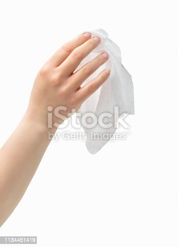 Cropped shot of an unrecognizable woman hand holding a washcloth isolated on a white background