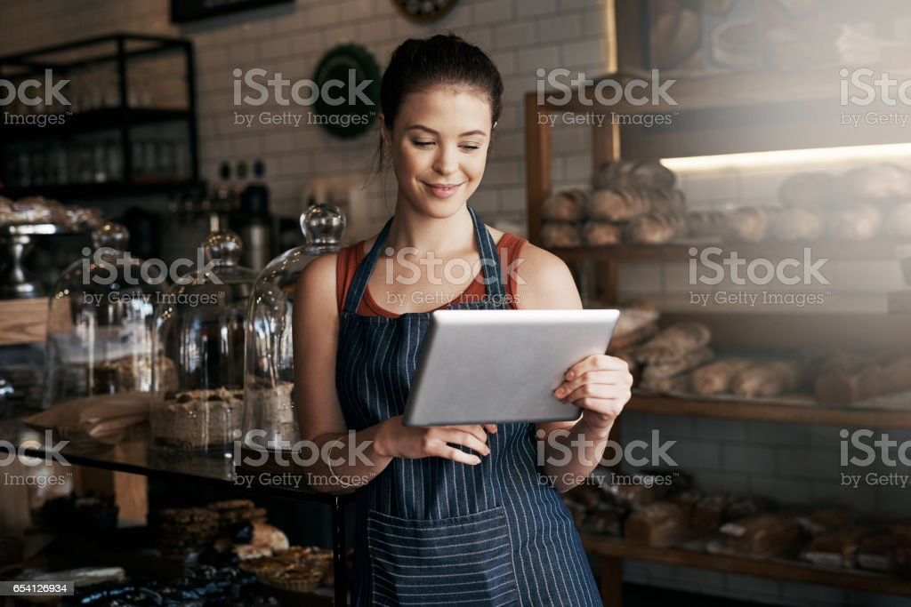 I have everything you need on your tea break stock photo