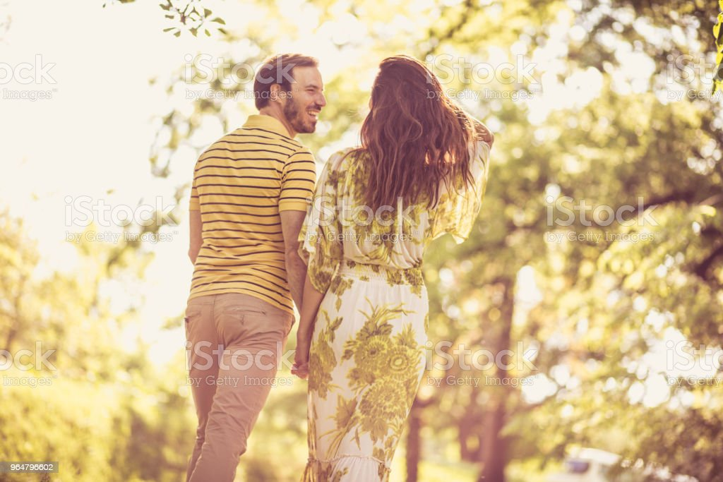 Have fun in nature. Couple in love. royalty-free stock photo