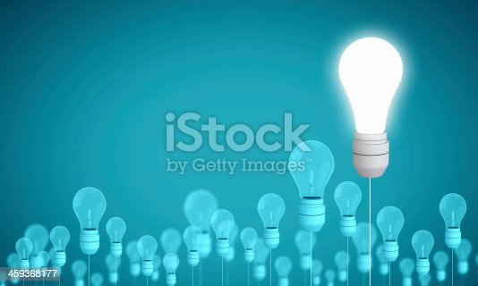 Conceptual image of electrical hanging bulbs. Idea concept