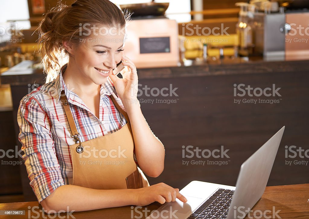 I have my own coffee shop stock photo