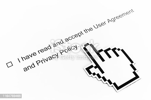istock I have read and accept to the Terms of Use and Privacy Policy - checkbox with a check mark on white paper and mouse pointer. Checklist concept 1164769465