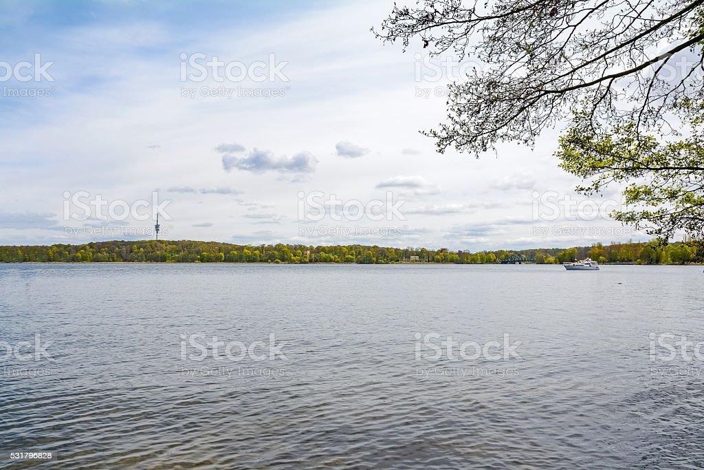 Havel river and Glienicke Bridge near Potsdam-Babelsberg, Brandenburg Germany stock photo