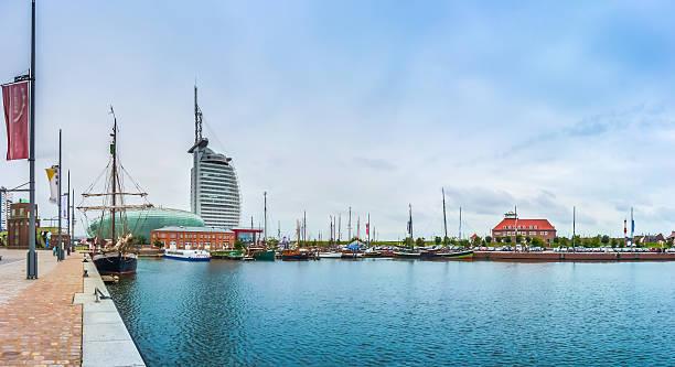 Havenwelten with Hotel in the hanseatic city Bremerhaven, Bremen, Germany stock photo