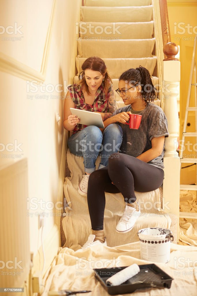 having a break during decorating royalty-free stock photo