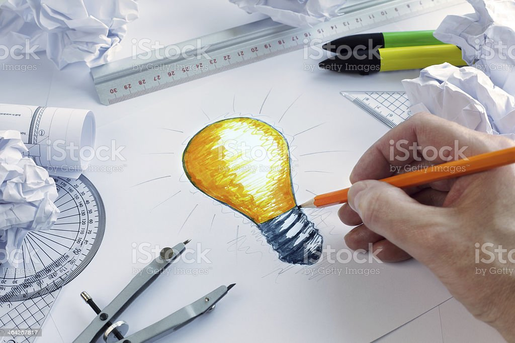 Having a bright idea stock photo