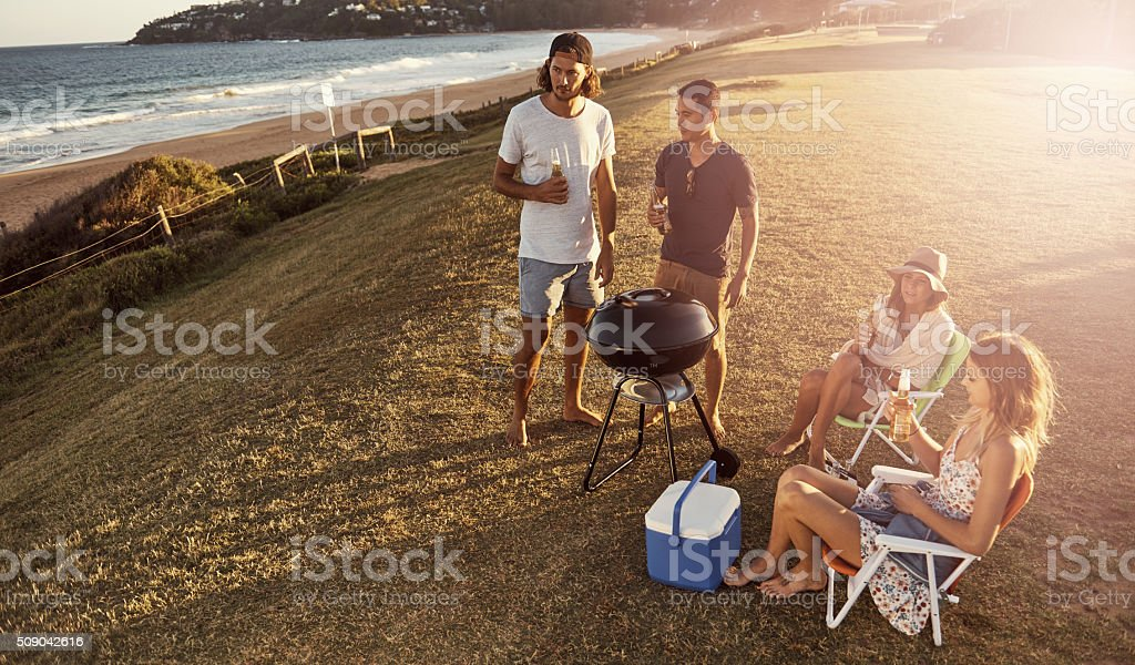 Having a chilled time at their favorite hangout stock photo