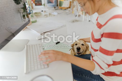 istock Having a company while working from home office 1179643686