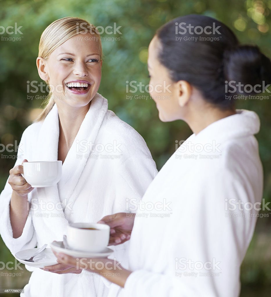Having a good time at the day spa stock photo