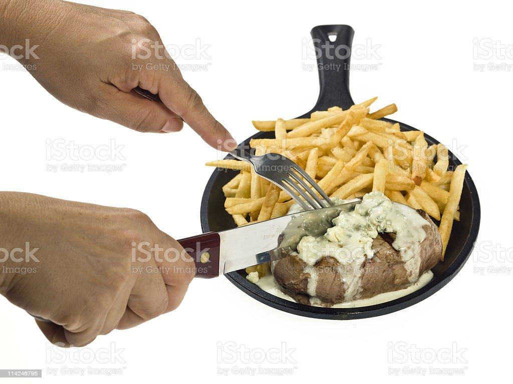 Having a gorgonzola beef Filet royalty-free stock photo