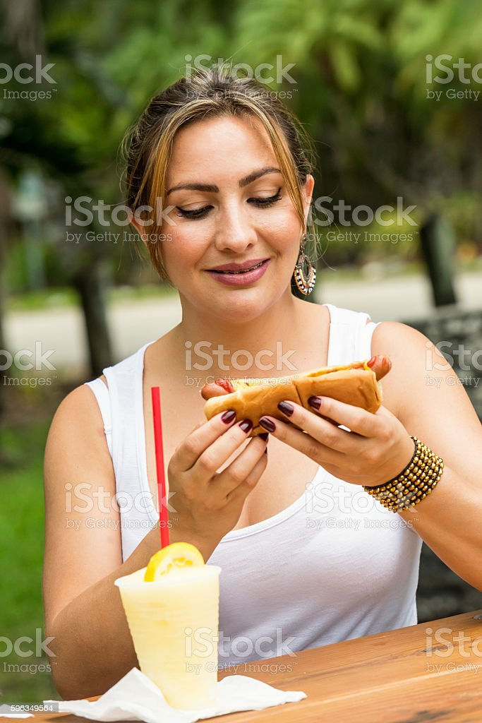 Having a hotdog royalty-free stock photo