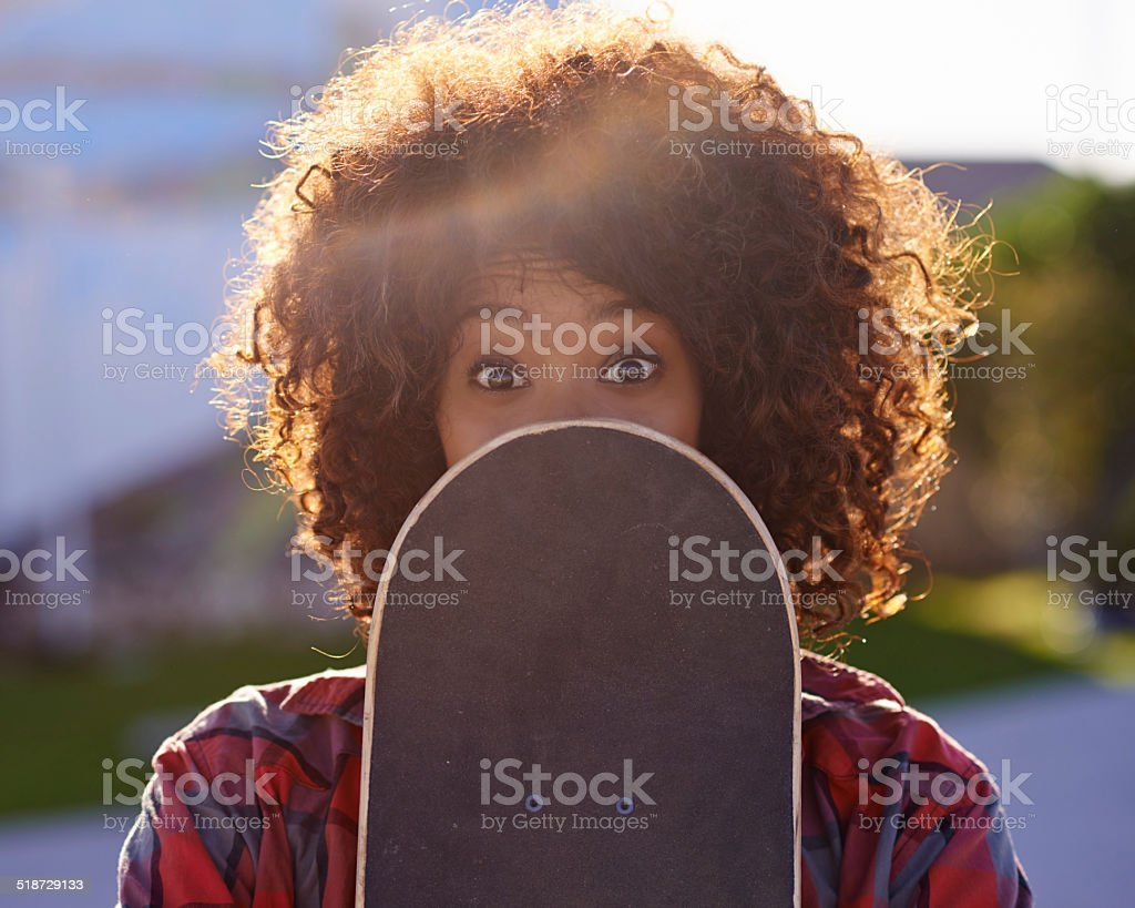 Having a little fun in the skate park stock photo
